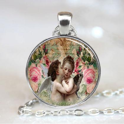 Angel pendant, Angel Necklace, Angel Jewelry, Angel Charm, Baby Angel Kiss