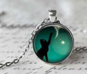 Black cat necklace moon photo pendant art black cat necklace