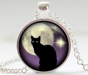 Black Cat Necklace, Black Cat and Purple Jewelry, Black Cat Pendant, Black Cat