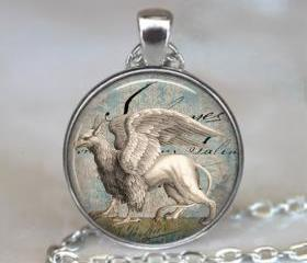 Snow Griffin pendant, griffin necklace resin pendant, Griffin jewelry, EverQuest