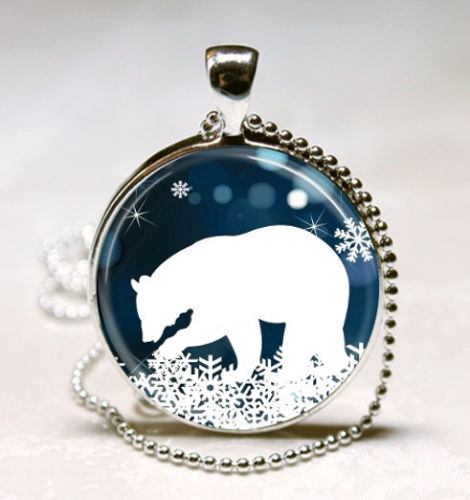 Polar bear necklace christmas jewelry blue and white for Jewelry stores in bear delaware