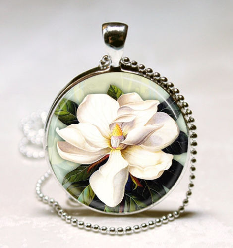 White Magnolia Flower Necklace Spring, Nature, Floral Art Pendant with Ball