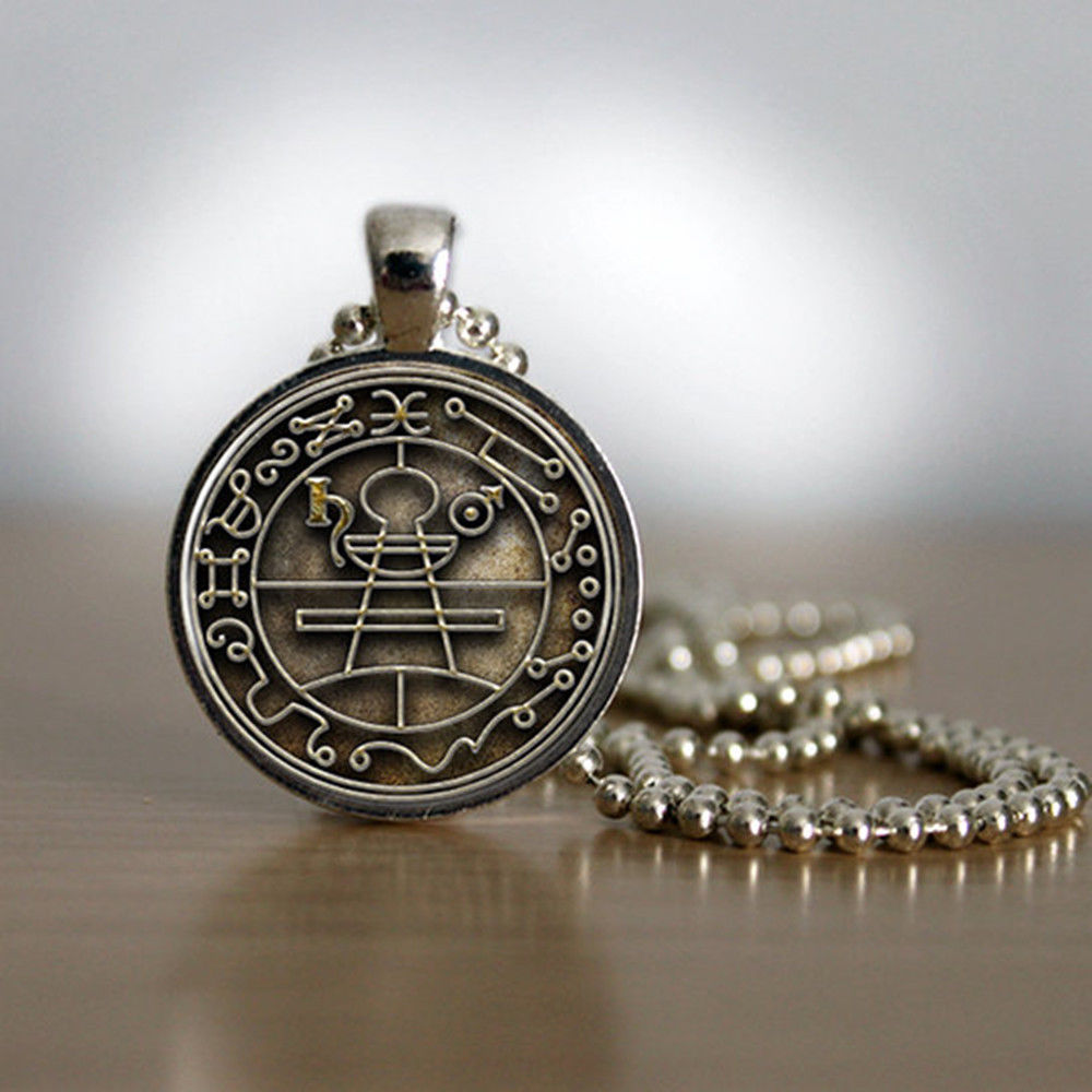 Key of Solomon Sigil Pendant in Silver Plated Bezel with matching chain