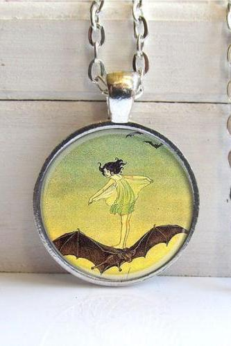 Fairy Pendant, Vintage Art Pendant, Fairy Riding A Bat, Silver and Glass