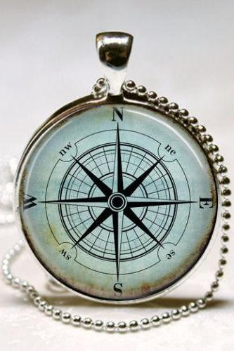 Nautical Compass Necklace, Compass Rose, Wind Rose, Nautical Jewelry