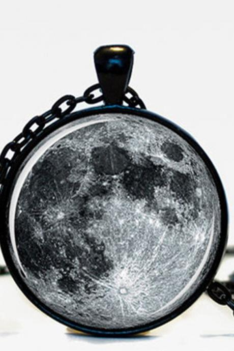 MOON JEWELRY Moon Pendant Space Galaxy Grey Moon Jewelry