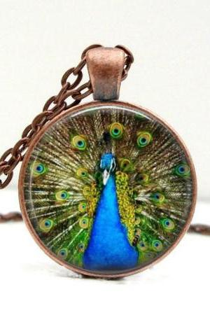 Peacock Necklace: Blue. Gift for Her. Jewelry. Handmade. Bird. Necklace
