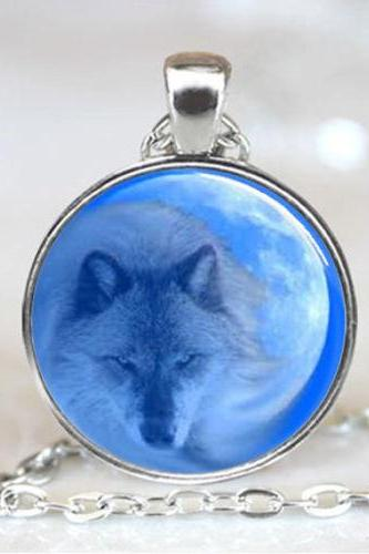 Wolf with Moon in Back Ground Handcrafted Necklace Pendant