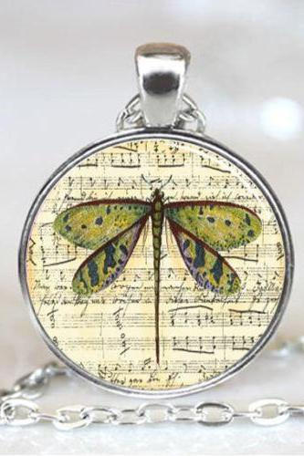Dragonfly Sheet Music Glass Tile Necklace Pendant