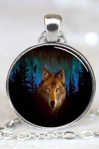 Northern Lights Wolf Handmade Necklace Pendant
