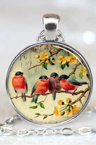 Red Robin Bird art Necklace Pendant, necklace resin pendant, photo pendant