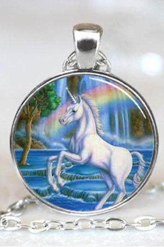 Unicorn With Rainbow Jewelry Necklace Pendant
