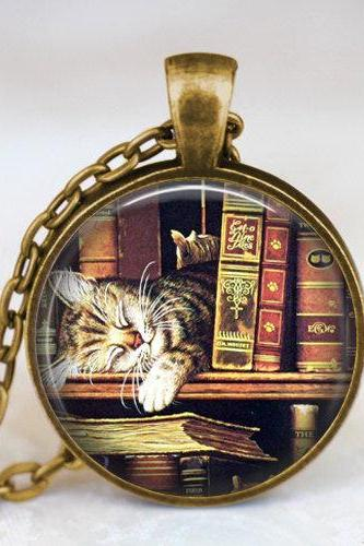Vintage books and cat pendant necklace , Book lover pendant