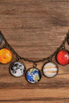 Solar system necklace, planet necklace, universe necklace, galaxy necklace