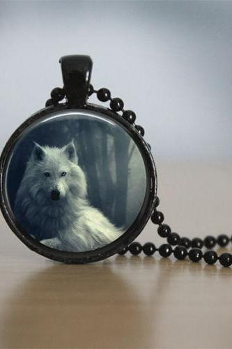 Glass Tile Necklace Wolf Necklace Black Jewelry Black Necklace Glass Tile