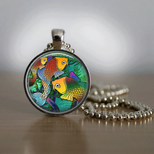 Glass Tile Necklace Fish Necklace Glass Tile Jewelry Fish Jewelry Sea Life