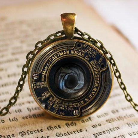 Vintage Camera Lens Pendant/Necklace Jewelry, Fine Art Necklace Jewelry