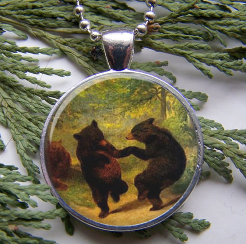 Dancing bear pendant woodland bear necklace on luulla for Jewelry stores in bear delaware